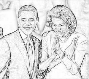 Michelle And Barack Obama Smiling, Clapping Coloring Page