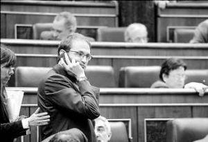 Joan Herrera, de Iniciativa per Catalunya, en el Congreso de los Diputados, en el pleno del pasado