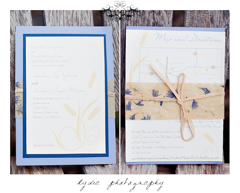 Periwinkle and royal blue invitation set wrapped in raffia