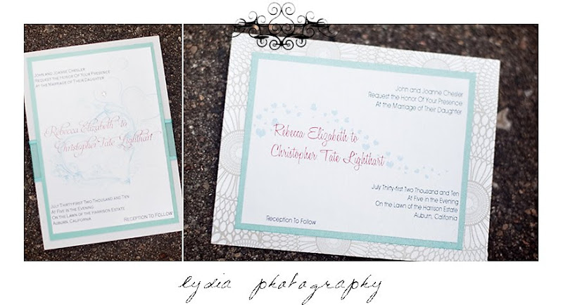 Retro red and baby blue graphic invitations