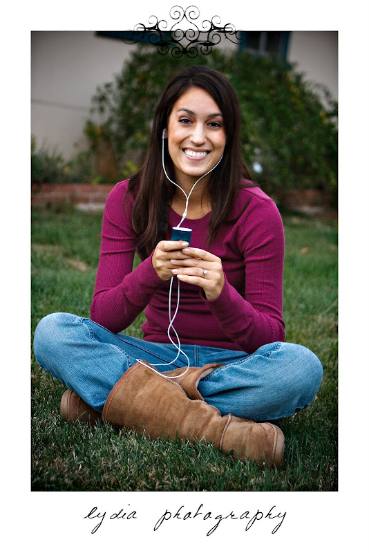Bride listening to music at lifestyle engagement portraits in Grass Valley, California