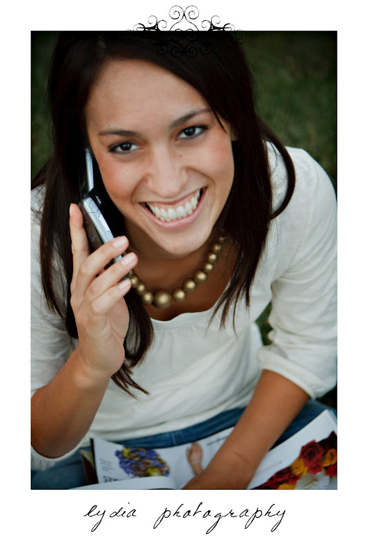 Bride talking on the phone at lifestyle engagement portraits in Grass Valley, California
