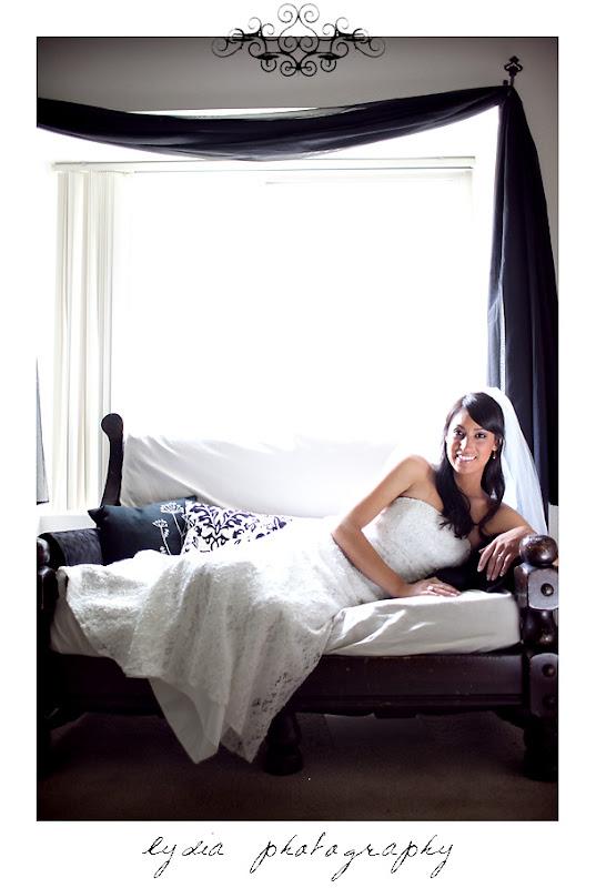 Bride on a couch for a trash the dress bridal wedding shoot in Sacramento, California