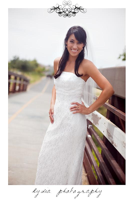 Bride on a bridge for a trash the dress bridal wedding shoot in Sacramento, California