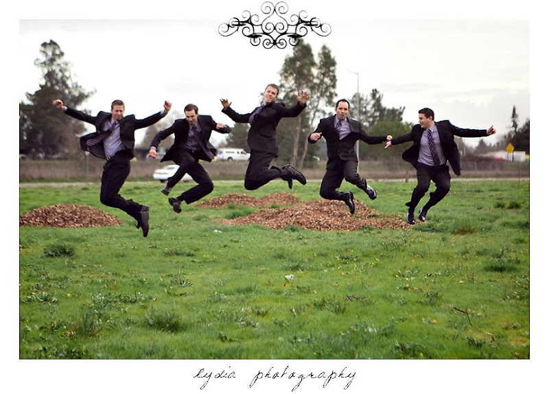 Groomsmen jumping for a picture in Santa Rosa California