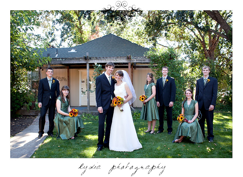 The bride and groom and wedding party at a Kenwood Farms & Gardens wedding