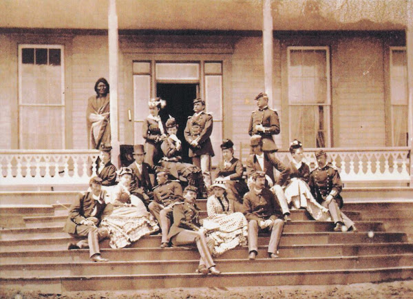 On Custer's front porch, Fort Lincoln 1875 - Keogh with officers and guests of the 7th Cavalry