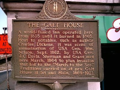 Plaque at the site of the original Galt House, Louisville