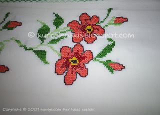 kurdele nakışı - kaneviçe - çiçek deseni