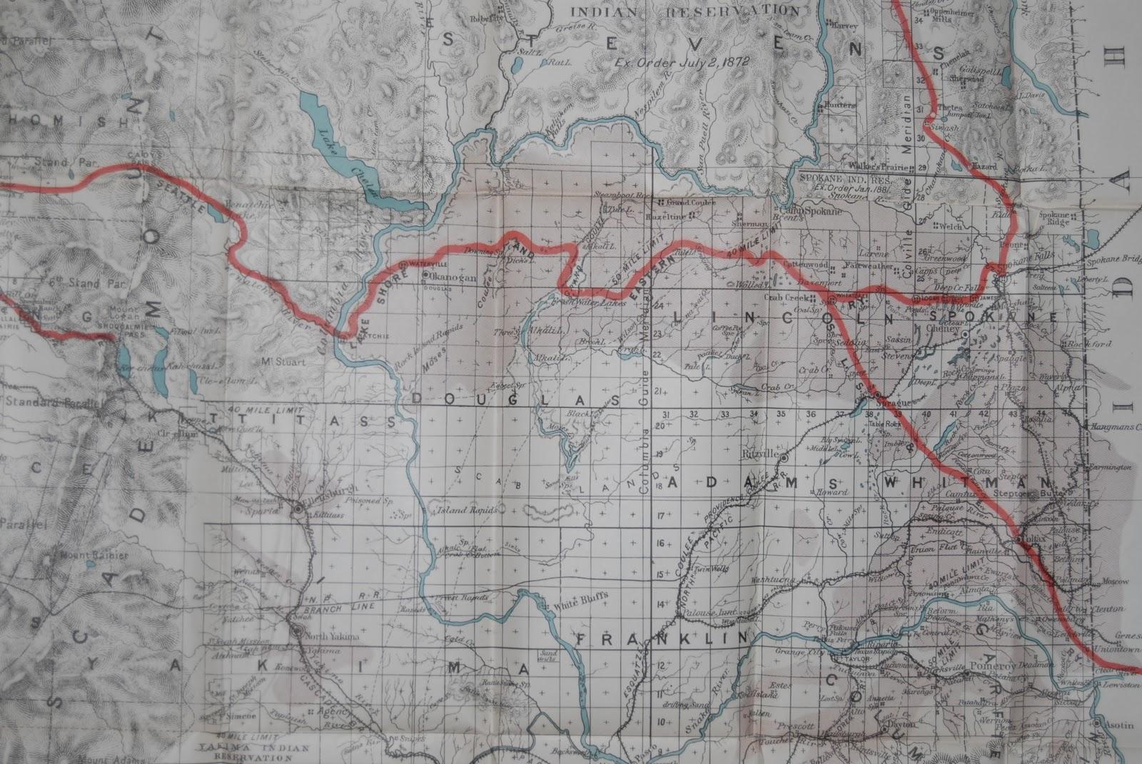 Big Bend Railroad History Seattle Lake Shore Eastern Washington Map