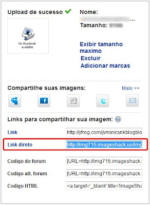 Copiando o Link do ImageShack
