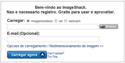 Tela inicial do ImageShack