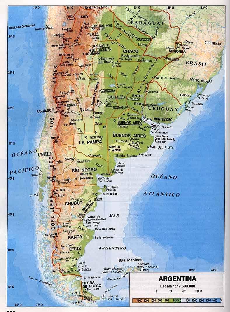 MAPA FISICO DE ARGENTINA