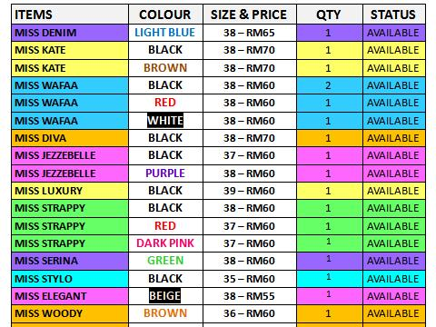 ALL ITEMS READY STOCK!!