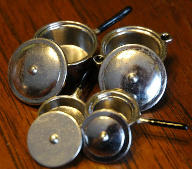 Miniature Silver Pots & Pans with Lids $5.99
