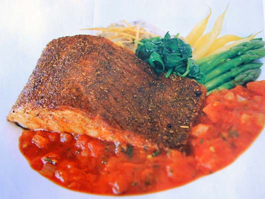 Moroccan-Salmon with sweet and spicy barbecue sauce, recipe below