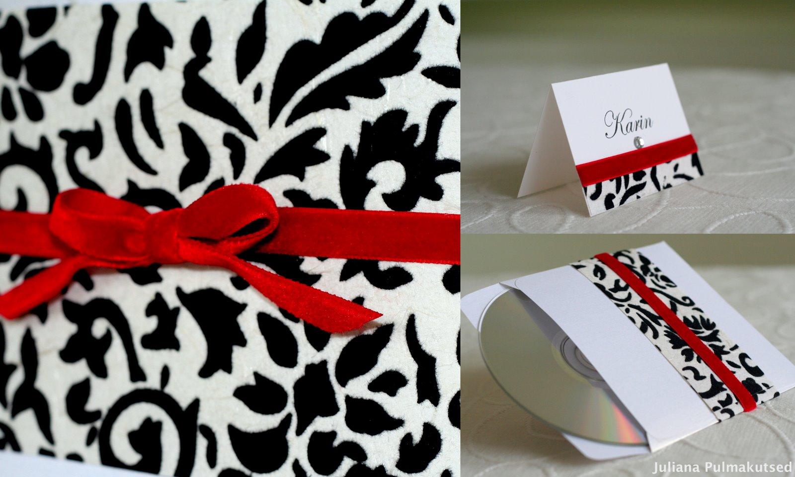 Custom Wedding Invitations: Punase sametpaelaga must-valge ...