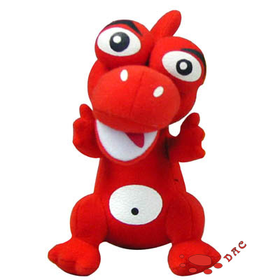 Cartoon Character Kids Toy --- Plush Red Dinosaur. Size: 15CM