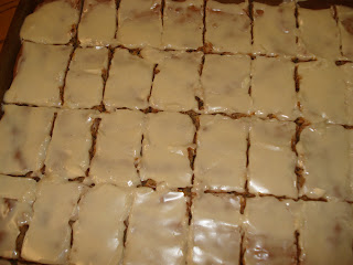 Peanut Buter oatmeal bars cut nicely - even frosted.