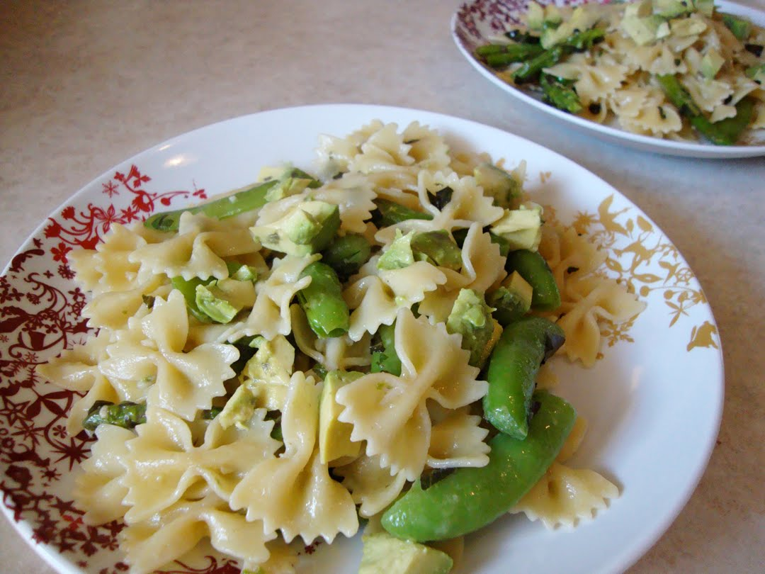 my back pages: asparagus, snap pea and avocado pasta