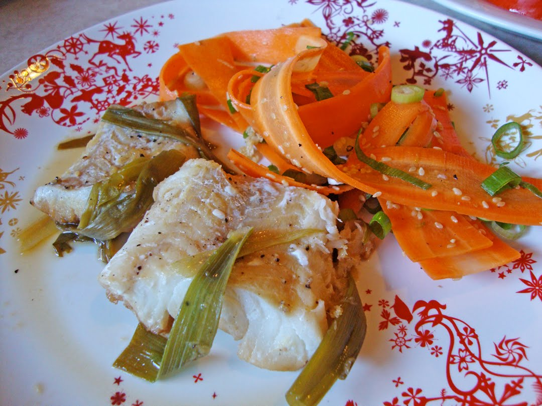 my back pages: steamed cod with ginger and scallions, shaved carrot ...