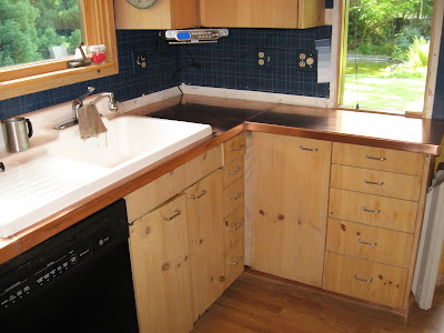 Copper Kitchen Counter Tops. Hand Formed Copper Clad Counter Top System