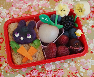 Cute bunny with carrots kids bento box lunch box