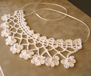 PDF Crochet Pattern: Fabled Flowers Trellis and Blossom Lace Bridal Wedding Necklace with Pearls and Ribbon