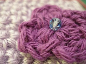Crocheted Purple Flower Embellishment with Crystal Center