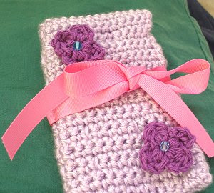 Crocheted Lavender Crochet Hook Case with Purple Flower Embellishments
