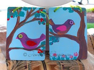 Little Tweet Paintings - Handpainted on Wood with Button Eyes
