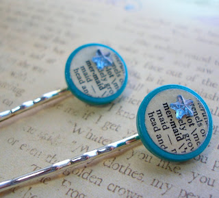 Vintage Dictionary Bobby Hair Pins - Mermaid