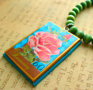Handcrafted Polymer Clay English Rose Pendant Necklace