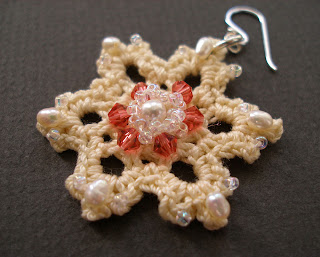 PDF crochet pattern easy vanilla snowflake lace earrings with embroidery