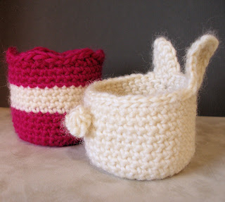 PDF Crochet Pattern: Bunny & Striped Tulip Bowl Set -- Cute Storage Containers