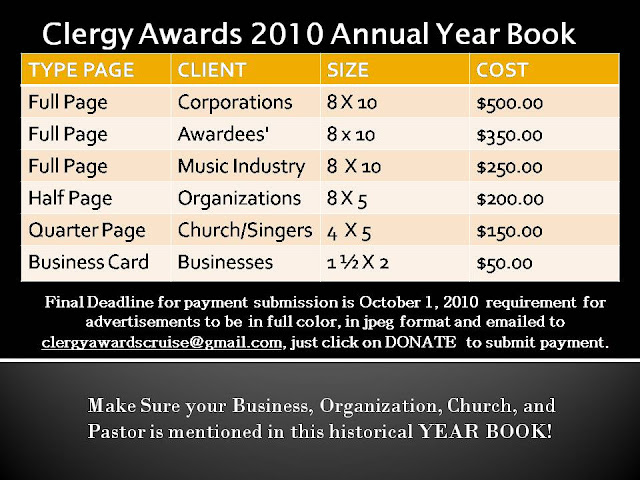Double Click on this Advertisement banner to submit Page Ad for the 2010 Clergy Awards Year Book