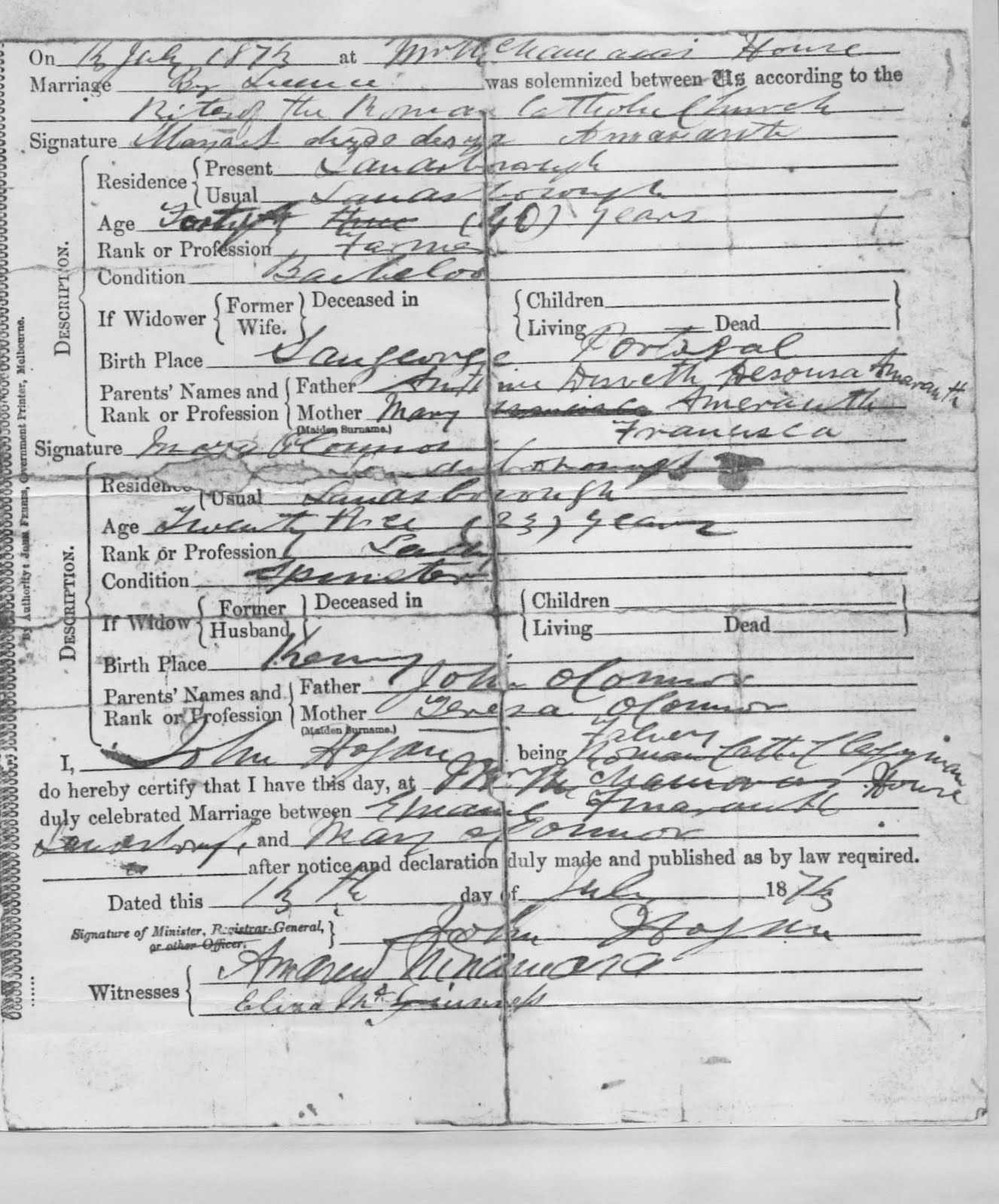Amarant family history june 2010 title marriage certificate location melbourne creator government of victoria description marriage certificate of manoel amarante and mary oconnor aiddatafo Images