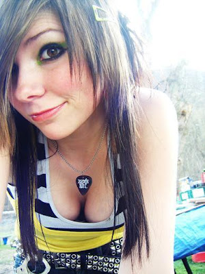 long emo hairstyle is made by a girl who is very beautiful and cute