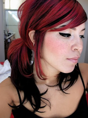 red hair with blonde highlights. rown hair blonde highlights.