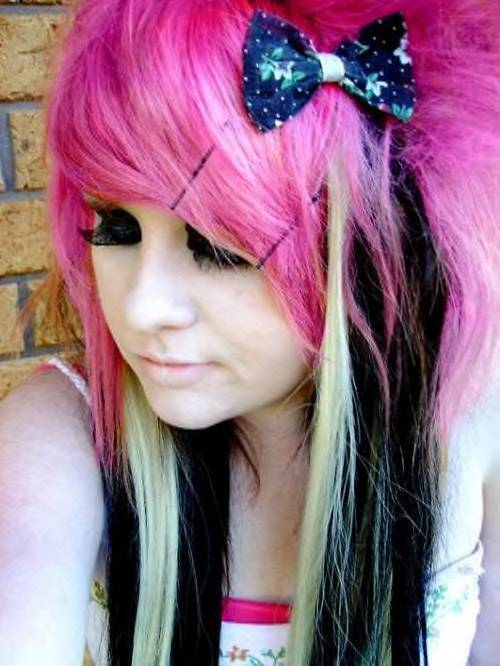 Black hair with pink highlights more about hairstyles posted in black hairhighlightspink pmusecretfo Images