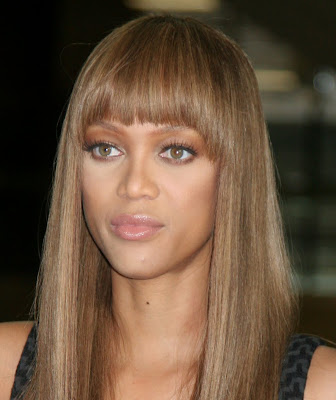 Tyra Banks - Fringe Hair A simple and beautiful ebony hairstyle is the sleek