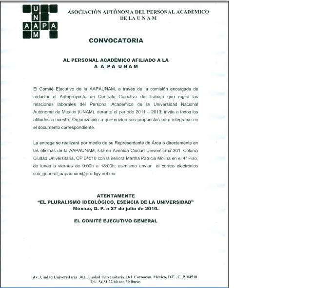 CONVOCATORIA PROPUESTAS PARA EL CONTRATO COLECTIVO