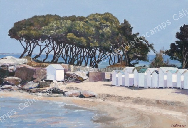Bien-aimé Celine Wattecamps, artiste peintre: Tableau, cabines, plage  XM03
