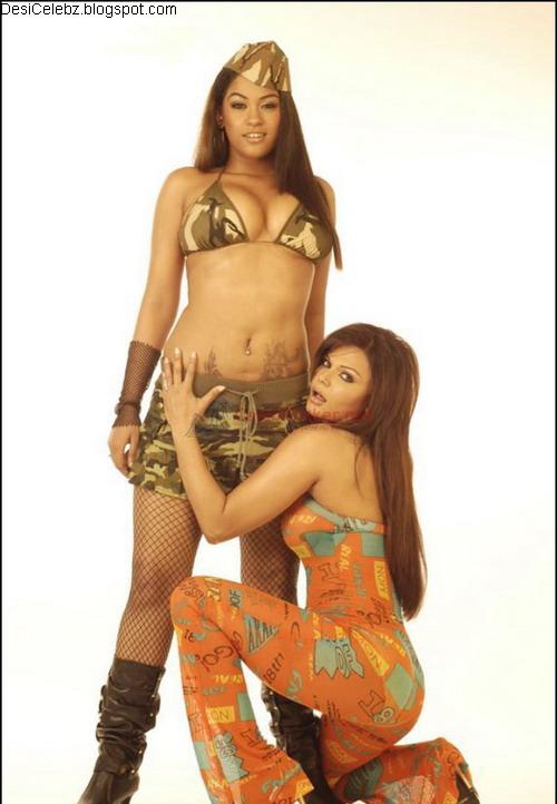 Rakhi Sawant and Mumaith Khan posing like....