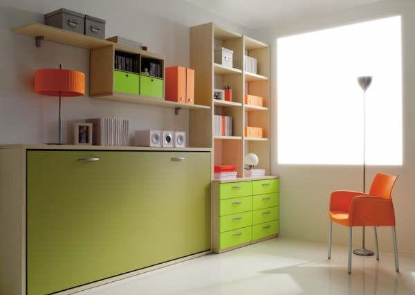 Camas abatibles plegables individuales horizontales de 90cm for Habitaciones modulares juveniles