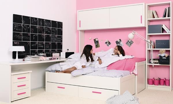 Dormitorio juvenil con puente cama compacto armario de - Dormitorios juveniles para nina ...