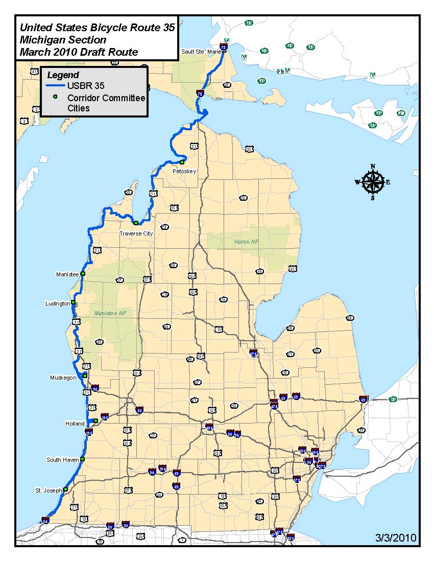 usbr 35 is a north south bicycle corridor that will eventually go from sault ste marie to mississippi in michigan the proposed route will parallel lake