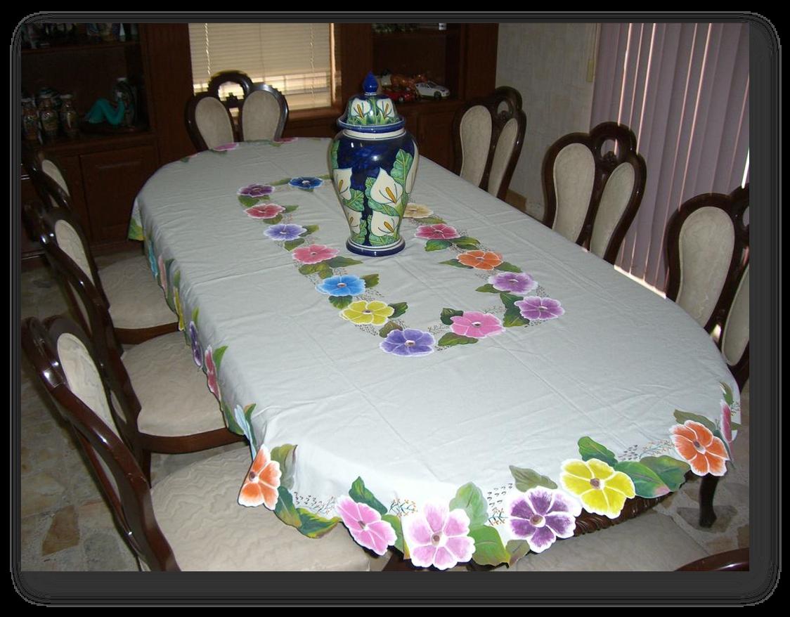 Flores individuales manteles para pintar mantel mesa for Manteles de mesa