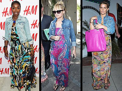 Estelle, Nicole Richie and Jessica Simpson all sport the maxi dress,