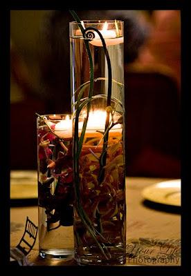 wedding centerpiece, submerged orchids, fern curls, Isha Foss Events